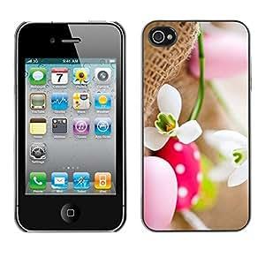 FECELL CITY // Duro Aluminio Pegatina PC Caso decorativo Funda Carcasa de Protección para Apple Iphone 4 / 4S // Egg Snow Flower Spring Nature