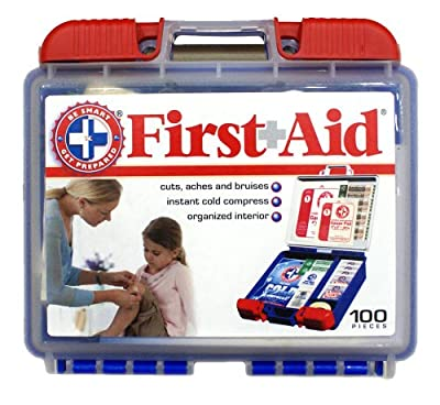 Be Smart Get Prepared 100 Piece First Aid Kit, 0.71 Pound by Be Smart Get Prepared
