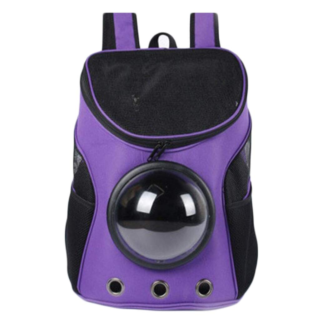 PURPLE Space Backpack Out Portable Pet Bag Breathable Cat Bag Dog Backpack Pet Supplies (color   Purple)