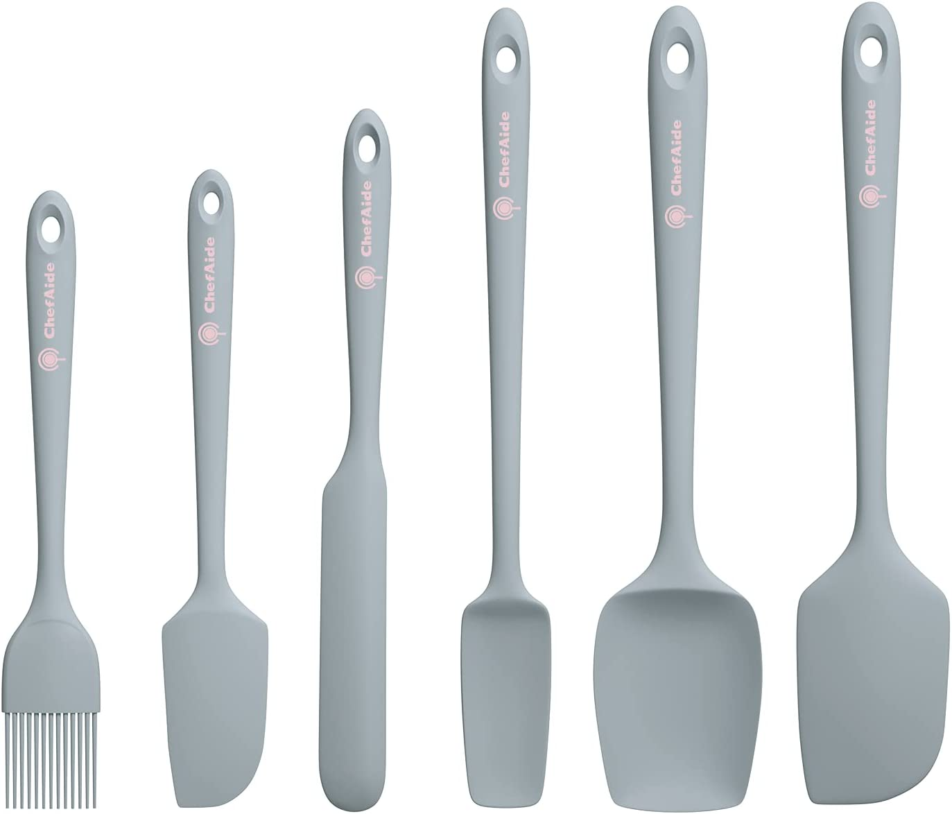 ChefAide 6 Pieces Food Grade Heat Resistant Silicone Spatulas Set Non-stick Rubber Scraper with Seamless One Piece Design for Cooking, Baking, Mixing,Kitchen(Gray)