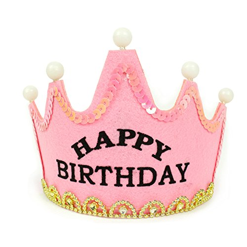 Aoneky Light Up Happy Birthday or Princess or King Hat for Kids (Happy Birthday Pink)
