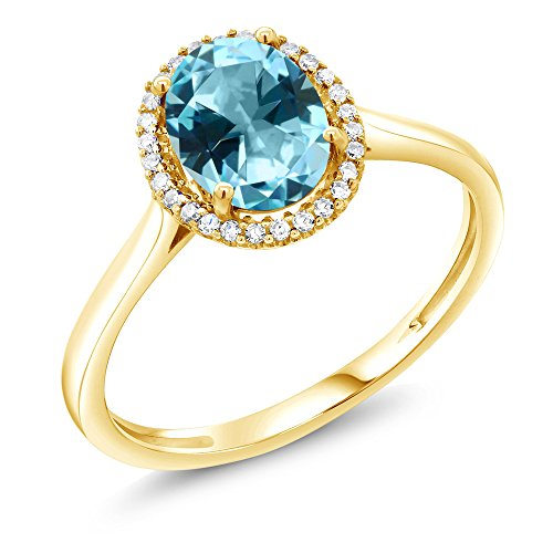 10K Yellow Gold Fashion Right-Hand Ring Set with Ice Blue Topaz from Swarovski (Size (Fashion Right Hand Ring)
