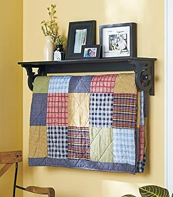 "Deluxe Quilt Rack with Shelf 37-1/4""W x 7-7/8""D x 8""H"