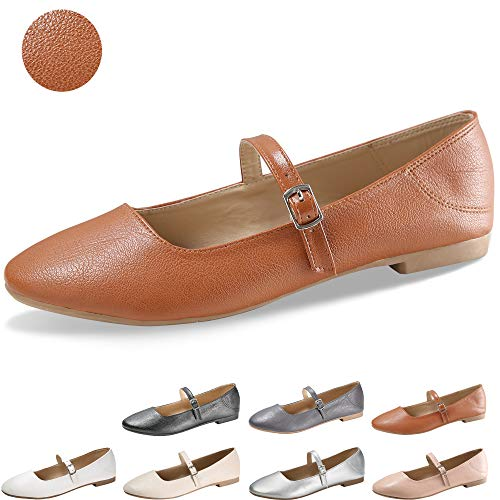 CINAK Flats Mary Jane Shoes Women's Casual Comfortable Walking Buckle Ankle Strap Fahion Slip On (7-7.5 B(M) US/ CN39 / 9.5'', Brown) -