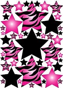 Amazon Com Hot Pink 3d Zebra Print Star Wall Sticker