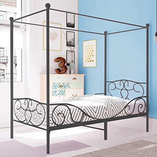 Canopy Bed Frame Twin Mattress Foundation Platform Bed Heavy Duty Black No Box Spring Needed
