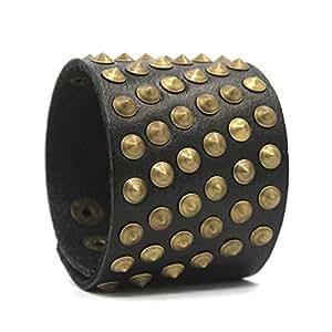 Holattio Unisex Genuine Black Leather Gauntlet Wristband Wide Bronzed Metal Spike Studded Arm Armor Cuff
