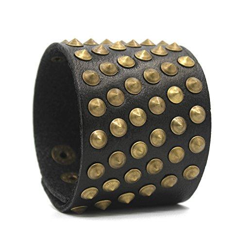 Bronzed Cuff - Unisex Genuine Black Leather Gauntlet Wristband Wide Bronzed Metal Spike Studded Arm Armor Cuff