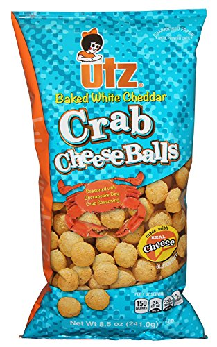 White Crab - UTZ Baked White Cheddar Crab Cheeseballs 8.5 Ounces (4 Bags)