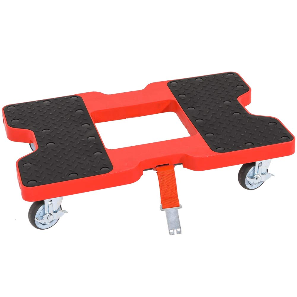 Superday Push Dolly Red Flatbed Cart Hand Platform Truck,1200 lb Capacity Strap Option