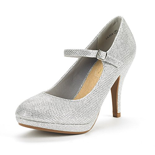 DREAM PAIRS Women's LILICA Silver Glitter Mary-Jane Close Toe Stilleto Platform Heel Pump Shoes - 9.5 M US - Glitter Platform Mary Jane