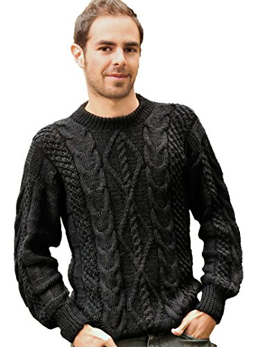 Gamboa Irish Aran Style Warm Black Alpaca Sweater for Men Hand Woven - Alpaca Mens Sweater