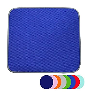 Jovilife Dish Drying Mat Kitchen Mat(set of 2) Microfiber Absorbent Washable, 16*18 Inch, Royal Blue