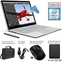 Microsoft Surface Book (256GB SSD, 8GB RAM, Intel 6th Gen Intel i7 + 1TB Portable External Hard Drive USB 3.0 + Surface Carrying Case + Wireless Optical Mouse + Car Charger +DigitalAndMore Cloth