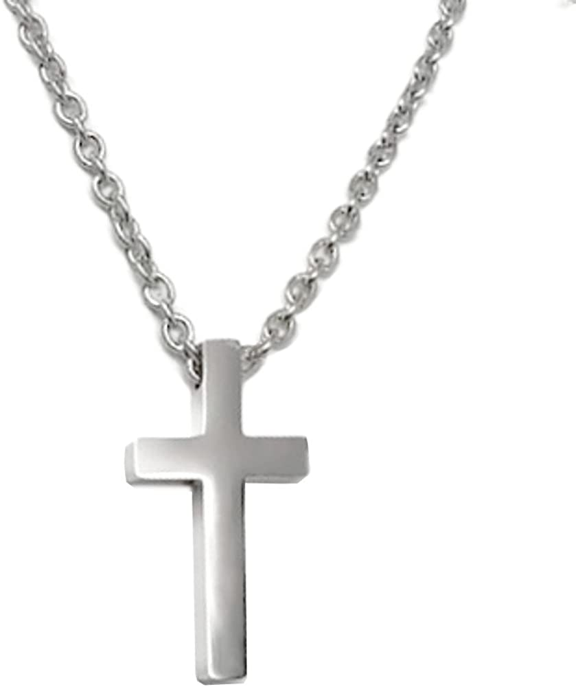 Small Mens Simple Stainless Cross Pendant Necklace 16,18, 20, 22, 24 or 30 Inch Chain