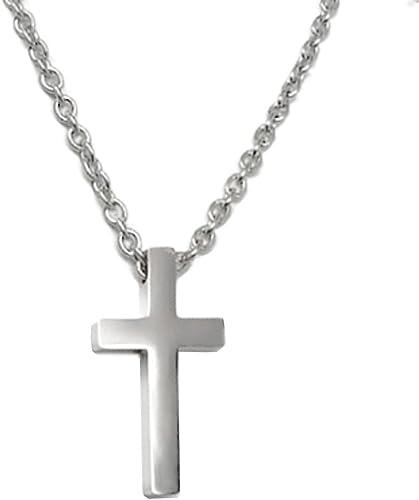 Loralyn Designs Small Mens Simple Stainless Steel Cross Pendant