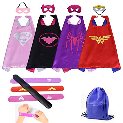 Kids Cartoon Dress up Costumes Girls Superhero Capes and Masks 4 Characters with Slap Bracelets for Cosplay Party Game Toys -