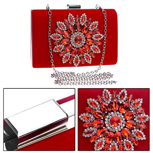 Ladies Bags Bags Clutch Purse Wallet Elegant Evening Chain Shoulder Dress Wedding Red Flower Womens U6w5HzxHq