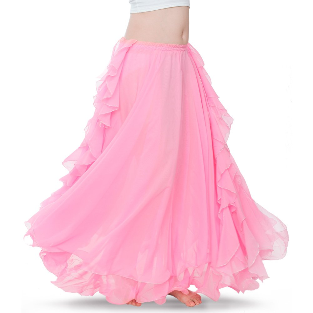 ROYAL SMEELA Women's Belly Dance Chiffon Skirt ATS Voile Maxi Full Dress Bellydance Skirts Pink One Size by ROYAL SMEELA