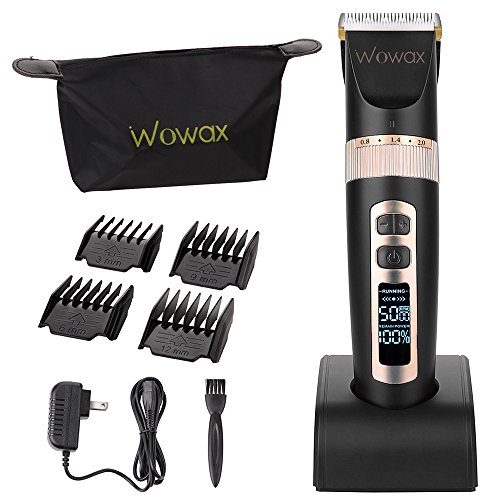 WOWAX Hair Clipper for Men, Professional Cordless Rechargeable Hair Trimmer for Men Baby Boy & Kids, LCD Display Haircut Kit, Ceramic Hair Cutting Tools Set, Black