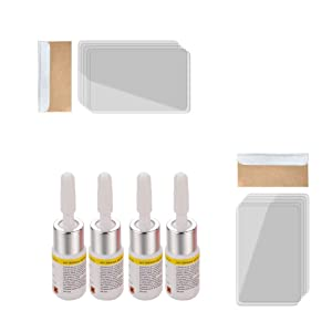 4PC Automotive Glass Nano Repair Fluid Kit,Car Windshield Repair Resin,Wind Shield Car Glass Repair Set,Glass Corrector Set,Glass Crack Chip Repair Tool (White)