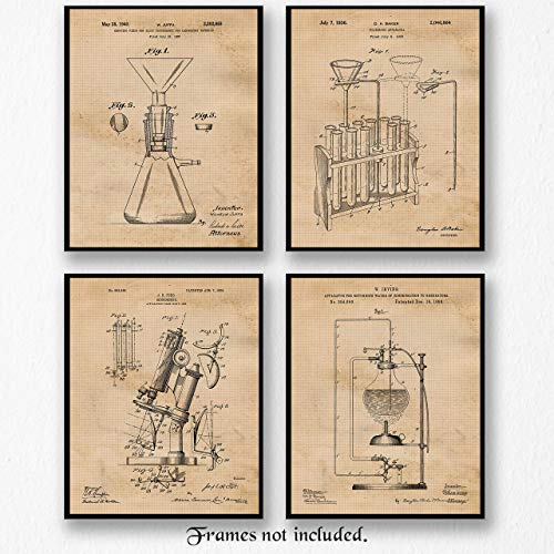 Vintage Science Lab Chemistry Patent Poster Prints, Set of 4 (8x10) Unframed Photos, Wall Art Decor Gifts Under 20 for Home, Office, College, Man Cave, School, Student, Teacher, Engineer, R&D Fan from STARS BY NATURE