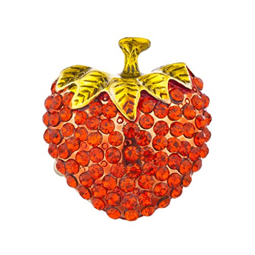 Ring Fruit - Lux Accessories Goldtone Red Bling Pave Large Strawberry Fruit Stretch Ring