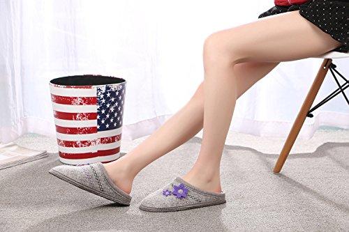 Le Kapmoz Féminin Chaud Slip Sur Laine Bouillie Maison Pantoufles Respirant Sabot Intérieur Mule Chaussures Pour Dame Gris Clair / Violet