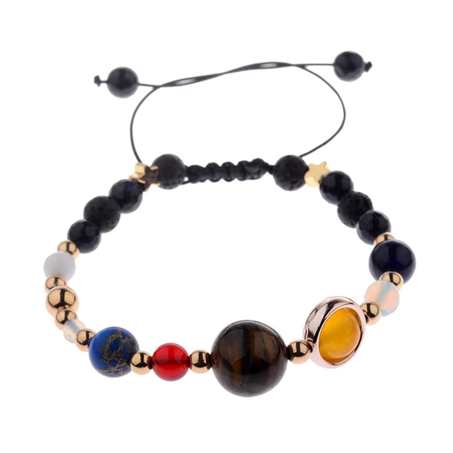 Solar System Universe Galaxy Nine Planets Guardian Star Natural Healing Stone Beads Stretch Bracelet for Women and Men