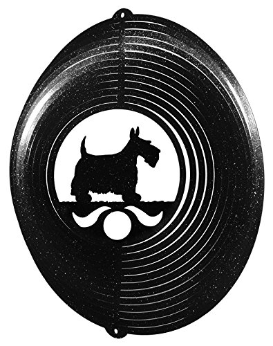 (SWEN Products Scottish Terrier Circle Swirly Metal Wind Spinner)