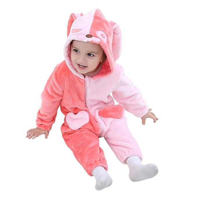 7336f11f5 Amazon.com  M A Unisex Baby Romper Winter Flannel Animal Onesie ...