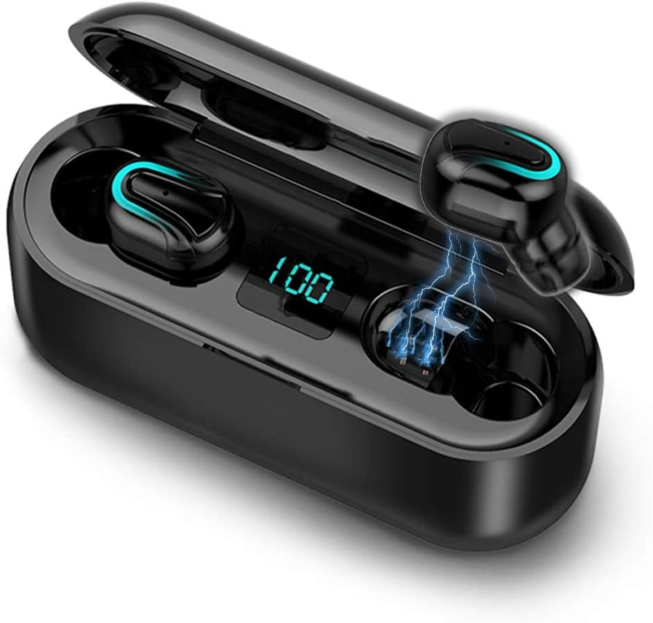 Wireless Earbuds,Bluetooth 5.0 Bluetooth Earbuds Stereo Bass Bluetooth Headphones, 24Hours Playtime,IPX6 Water-Resistant, Wireless Earphones with Charging Case for Airpods White