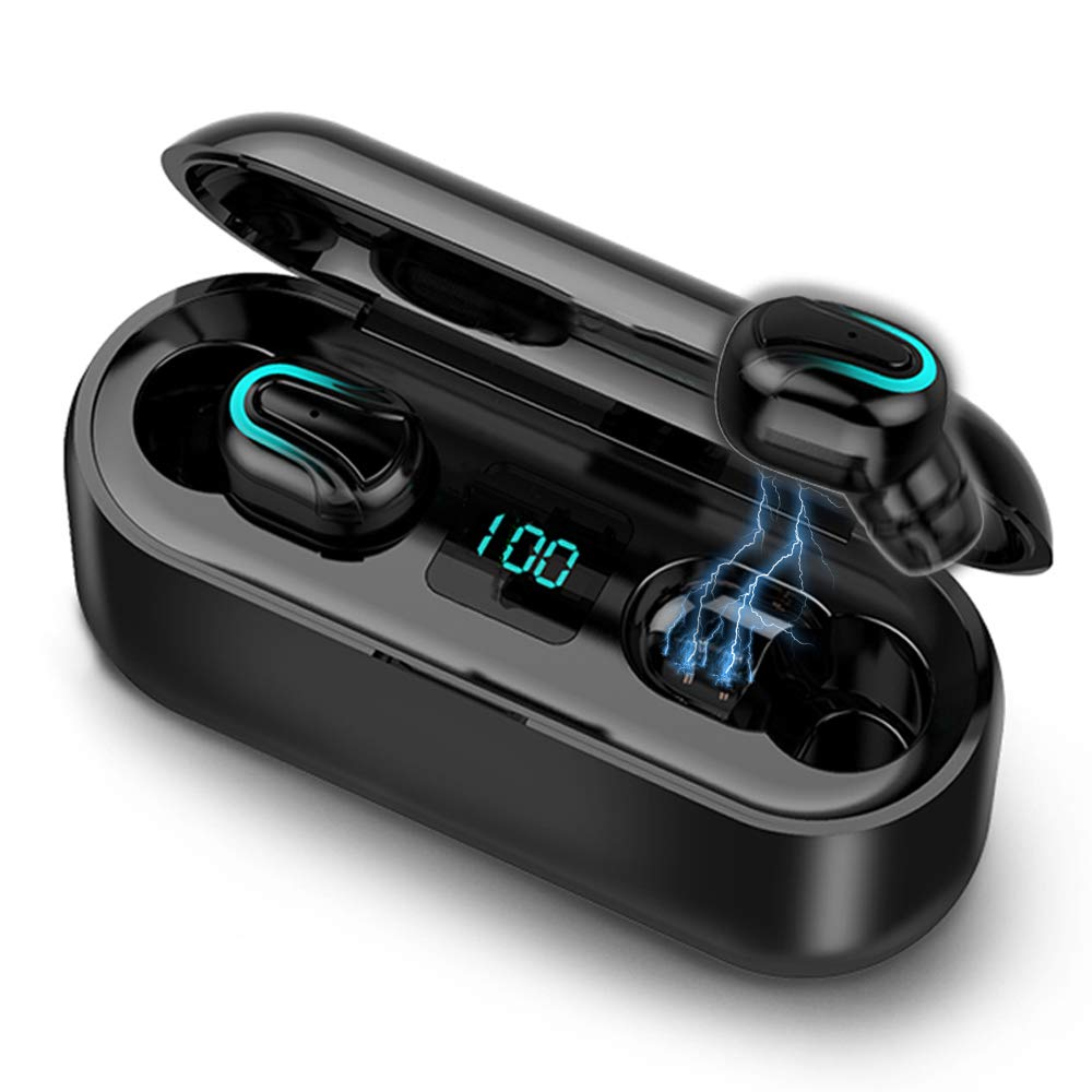 Lixada BT 5.0 Wireless Earphone Waterproof with Charging Case IPX5 Waterproof TWS Stereo Headphones in-Ear Built-in Dual Mic Headset Premium Sound