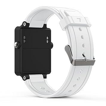 songni® suave silicona Sport correa de repuesto para Garmin vivoactive reloj inteligente de acetato (Tracker no está incluido), Blanco, Garmin Vivoactive ...