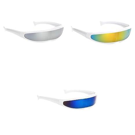 361df817972a0 Homyl 3 Pcs Nouveaux Lunettes étroit Fantaisie Couleur Versicolore Style  Futur Eyeglasses Unisexe