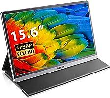 モバイルモニター 15.6インチ ポータブルモニター モバイルディスプレイ IPS液晶パネル HD 1080p HDR VESA対応 非光沢 フリッカーフリー ブルーライトカット Type-C/標準mini HDMI スタンドカバー付き 薄型...