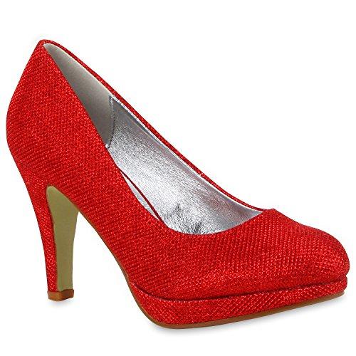 Stiefelparadies Damen Glitzer Pumps Plateaupumps Stiletto High Heels Velours Peeptoes Leder-Optik Plateau Vorne Party Schuhe Flandell Rot