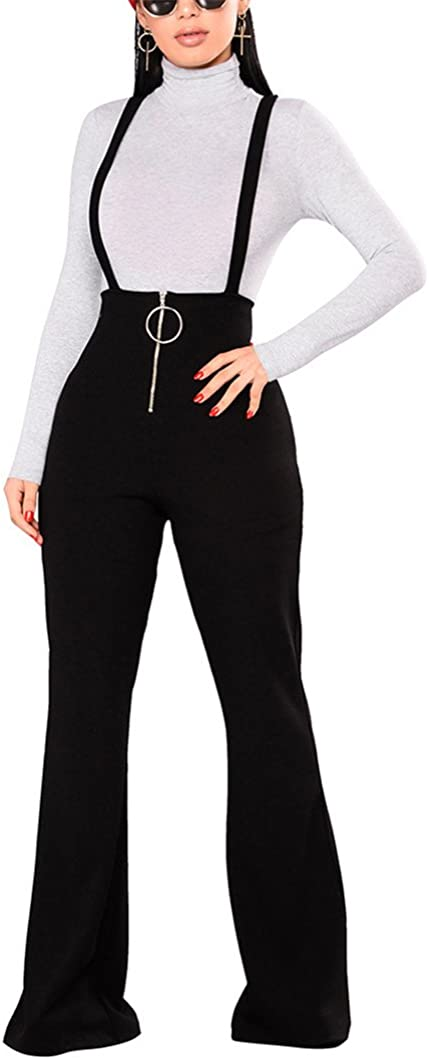 Overalls for Women Retro High Waist Stretch Suspender Trousers Long Bib Pants