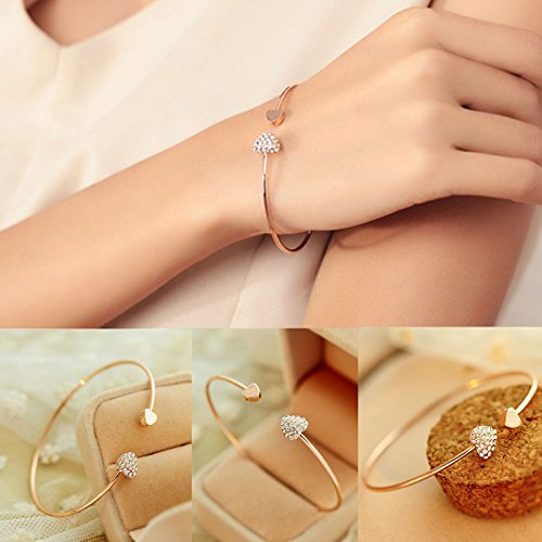 supaporn shop Fashion Style Gold Rhinestone Love Heart Bangle Cuff Bracelet Jewelry Women Color Gold