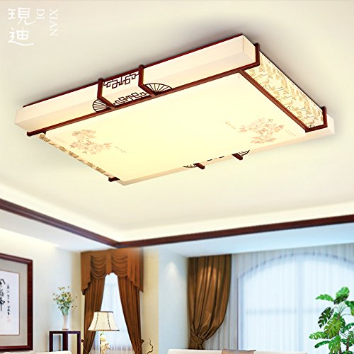 BLYC- Fernbedienung dimmer neuen chinesischen Stil Lampe rechteckige chinesische feste Holz Schlafzimmer Wohnzimmer Lampe Deckenleuchten LED-Beleuchtung Restaurant Schaffell 1000 * 700 * 110 mm