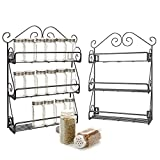 [2-Pack] 3-Tier Spice Rack, EZOWare Black Kitchen Wall Mounted 3-Tier ...