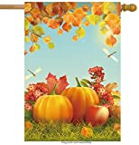ShineSnow Harvest Autumn Pumpkin Apple Dragonfly House Flag 28'' x 40'' Double Sided, Polyester Thanksgiving Festival Fall Leaves Welcome Yard Garden Flag Banners for Patio Lawn Home Outdoor Decor