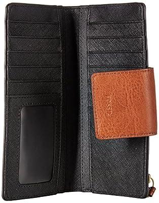 Fossil Emma Rfid Tab Clutch Black Stripe Wallet