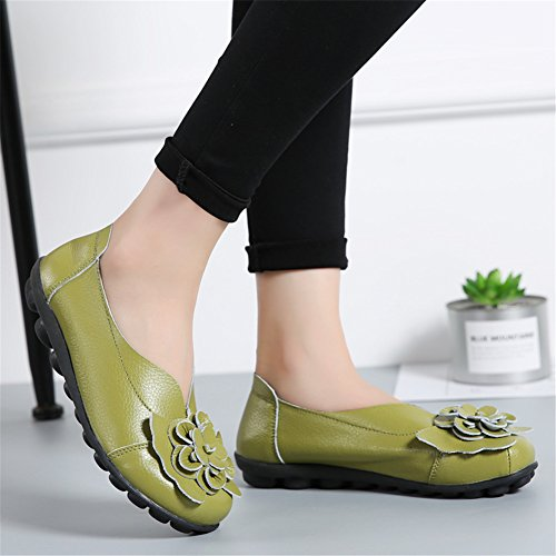 Flat Casual Z Loafer Shoes Moccasin Slip joyee on Leather Women's Green Driving Y4Oqz