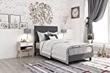 DHP Janford Upholstered Bed with Chic Design, Twin, Grey Linen