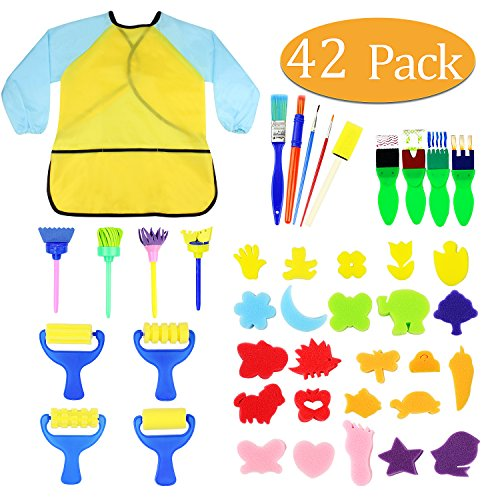 Kids Early Learning Sponge Painting Brushes Kit, 42 Pieces Sponge Drawing Shapes Paint Craft Brushes for Toddlers Assorted Pattern, Including Children Waterproof Art Painting Smock Apron ()