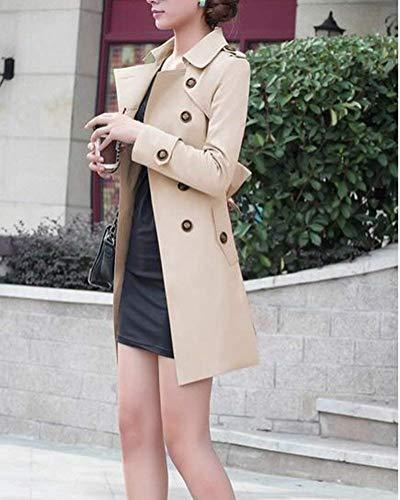 Fit Donna Vintage Manica Giaccone Lunga Kaki Fashion Outerwear Slim Cappotto Primaverile Autunno Cintura Double Bavero Eleganti Giacca Inclusa Breasted Classiche Trench dXT0wxvd