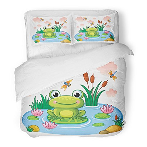 Blue Frog Bedding - SanChic Duvet Cover Set Blue Cartoon The Frog Sits on Leaf in Pond Children`S Style Lake Insects Animals Colorful Baby Decorative Bedding Set Pillow Sham Twin Size