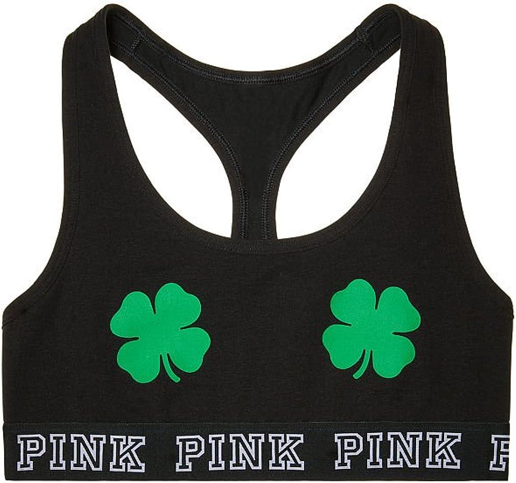 Victorias Secret PINK Logo Cotton Bra Top St Pattys Shamrock Small