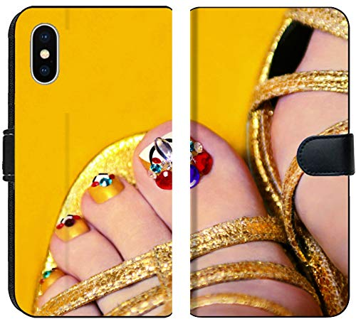 Yell Fabric - Apple iPhone X Flip Fabric Wallet Case Image 18087869 Art Coverage with Crystals on The Nail Women s feet in Sandals on a Yell